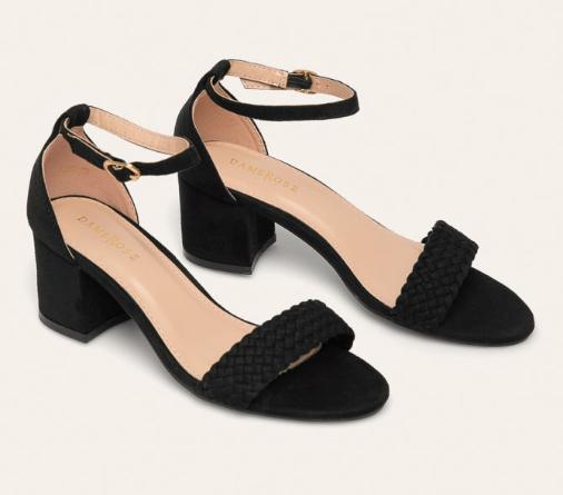 Sandale negre de zi cu toc gros elegante piele intoarsa eco