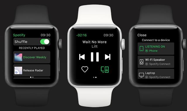 شركة Spotify تطلق تطبيق مستقل لـ Apple Watch