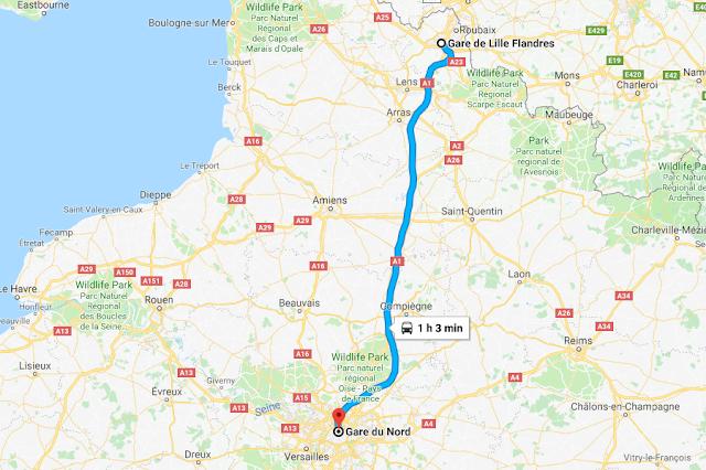 Mapa viagem de trem de Lille a Paris