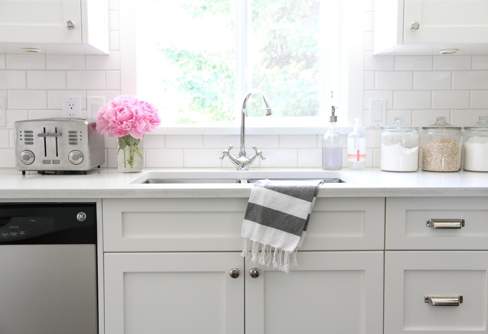 white kitchen cabinets and white sink 5