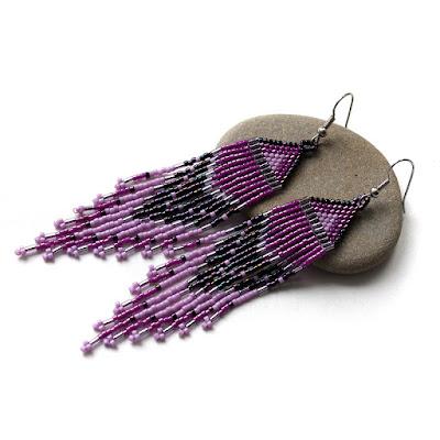 купить сиреневые или розовые украшения серьги из бисера ру