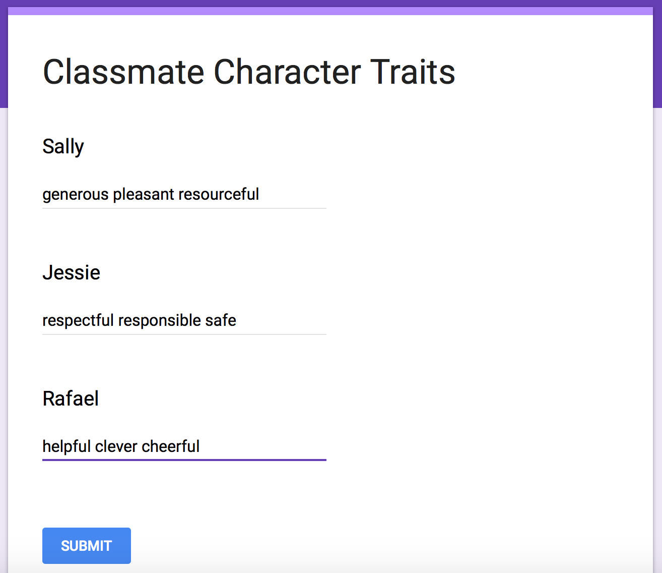 create a word cloud for the students to think about their classmates character traits using a