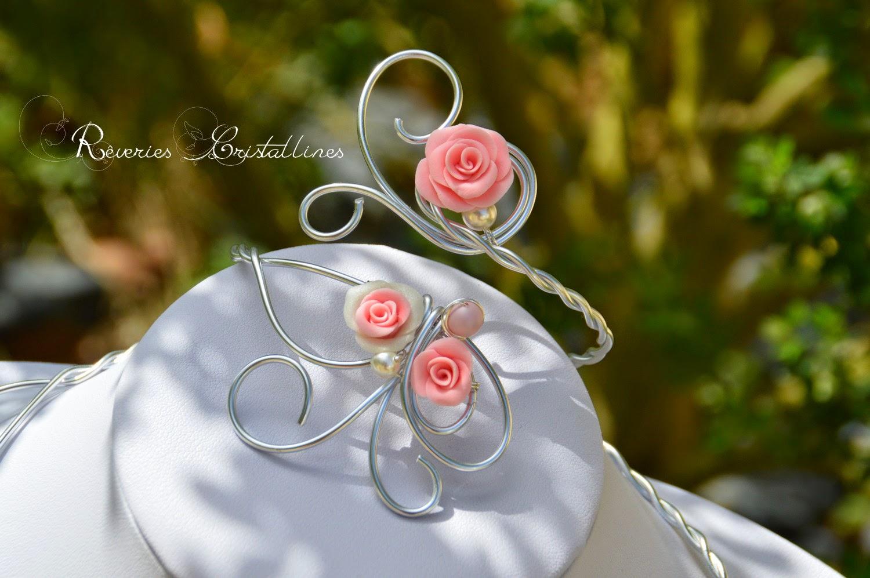 bijou fil aluminium et roses romantiques
