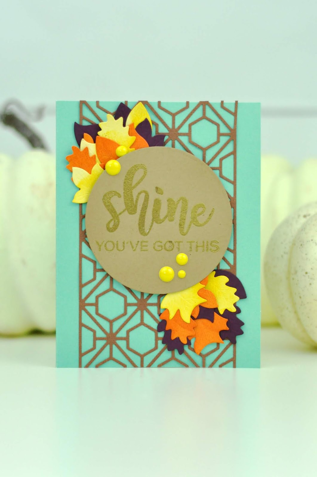 "Spellbinders ""Shine"" stamped and die cut card by Jen Gallacher. Autumn card tutorial. #stamping #diecutting #cardmaker #jengallacher #spellbinders"