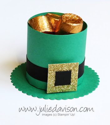 DIY Craft St Patrick's Day Leprechaun Hat Treat Box VIDEO Tutorial ~ Stampin' Up! Demonstrator Julie Davison ~ www.juliedavison.com
