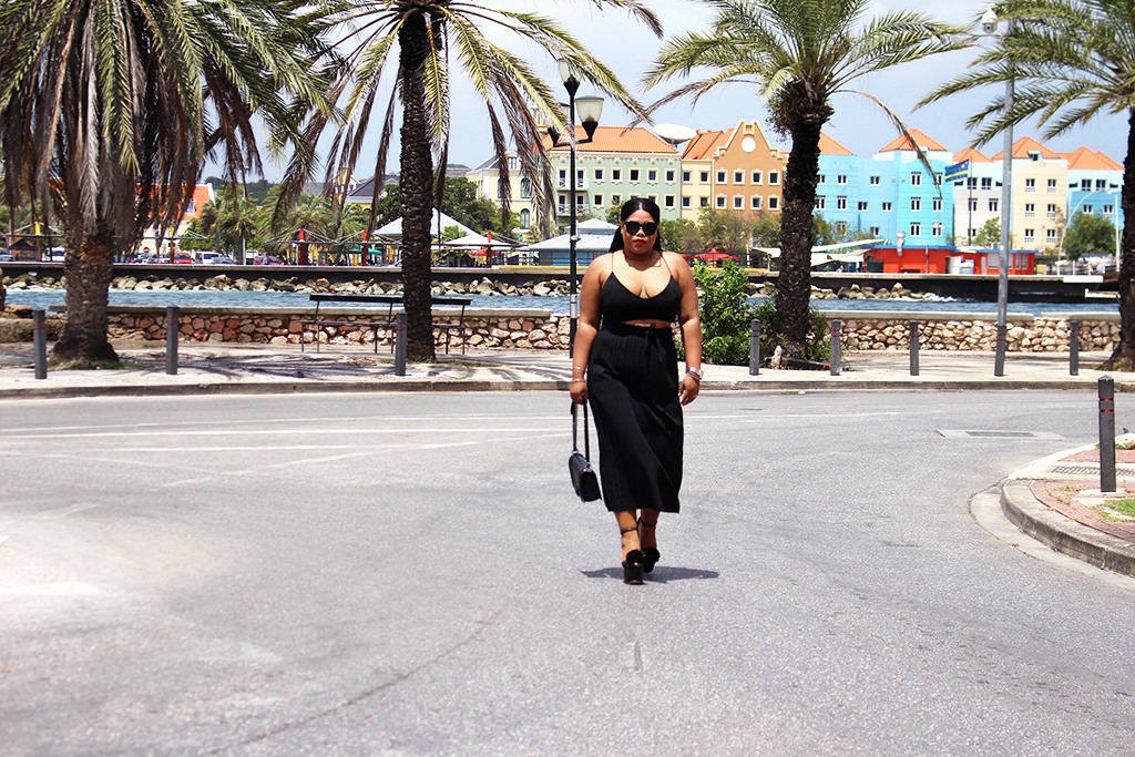 shana, outfit of the day, blogger, chanel, boy bag, ebay, asos, how to style, plisse skirt, midi skirt, all black, red lips, celine sunglasses, dupe, black blogger, black girl magic, curacao