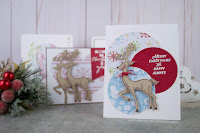 Christmas Card Ensemble, created using Fun Stampers Journey Merry Everything Stamp Set, and Cozy Winter Prints.