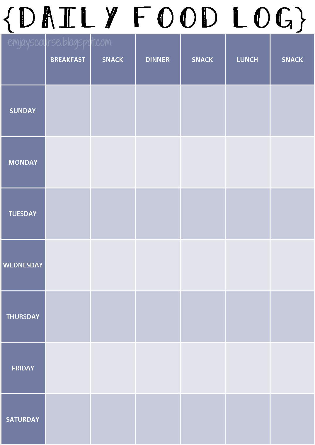 Emjay S Course Daily Food Log Printable