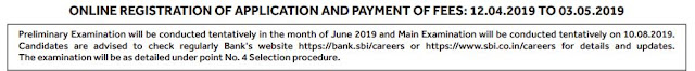 Important Dates for SBI CLERK 2019