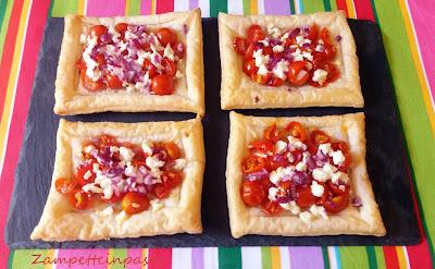 Pasta sfoglia con pomodorini e feta