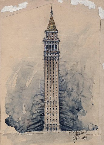 Sather Tower By John Galen Howard - from the exhibition catalog of the 'Roma Pacifica' Online Exhibit. Of the John Galen Howard Collection (1955-4), Environmental Design Archives, University of California, Berkeley., Public Domain