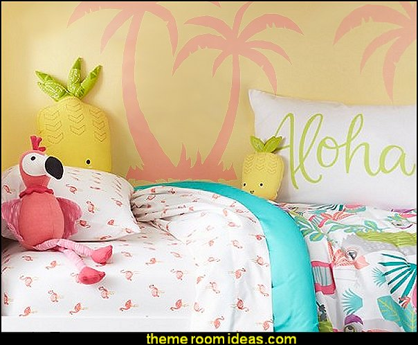 Flamingos Sheet Set    -   Aloha Standard Pillowcase    -   Pineapple Throw Pillows