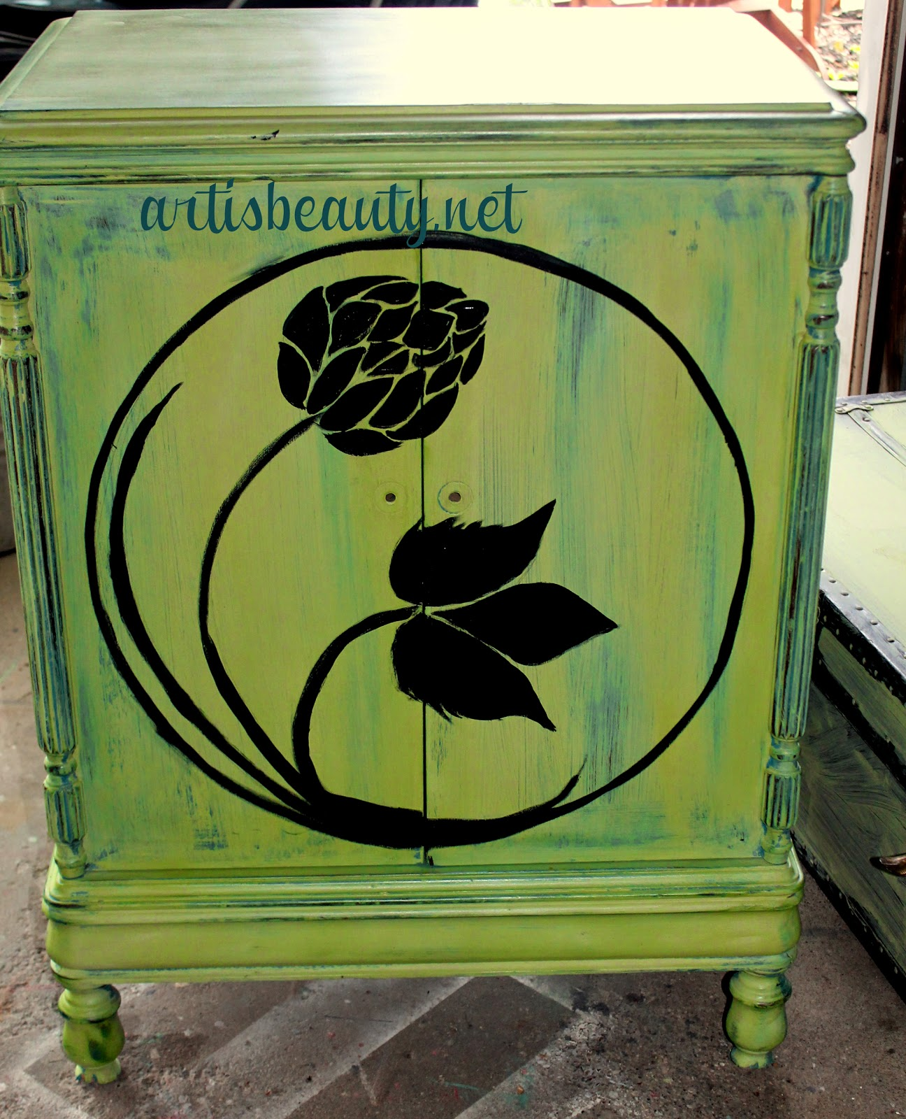 hand painted hop artwork on custom green vintage music cabinet