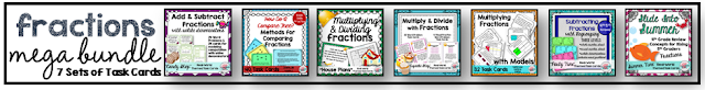 Check out the mega bundle of all of my 4th and 5th fractions task cards; lots of real-world themes incorporated in these task cards to help students connect fraction concepts to real-world concepts.