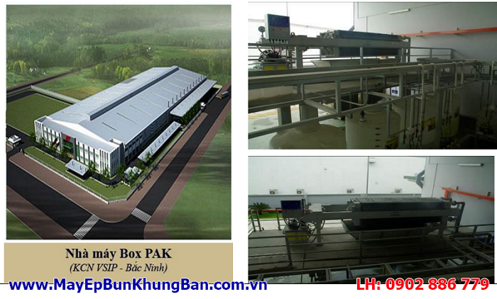 Máy ép bùn khung bản Việt Nam lắp đặt tại nhà máy BOXPAK - Tỉnh Bắc Ninh