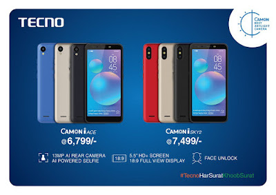 Tecno Camon iAce and Camon iSky 2 launched in India