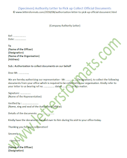 authority letter to pick up document