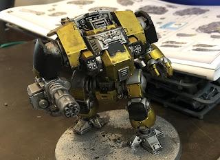 Imperial Fists Redemptor Dread in metallic yellow 40k
