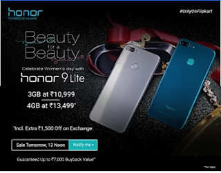 Honor 9 Light Sale - 8th March 2018 At 12PM In Flipcart