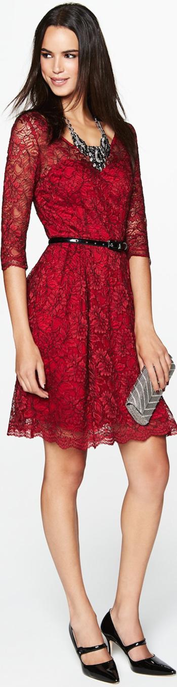 Betsey Johnson Illusion Yoke Lace Fit Amp Flare Dress