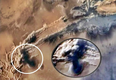 Here is a mushroom cloud on the planet Mars.