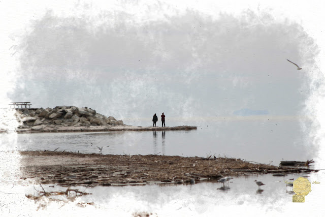 Photographers At The Salton Sea In Digital Watercolor