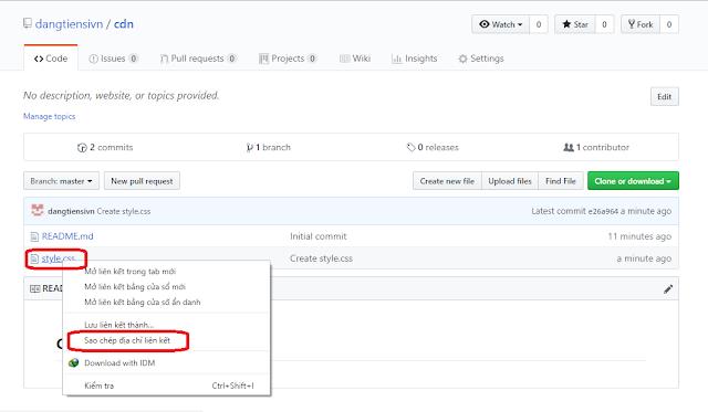 Get Link Từ Github, Biến Github Thành Máy Chủ CDN, Dùng Github Để Upload Css Và Js, Dùng Github Để Làm Một Hosting, Cách Dùng Github Để Làm Một Website, Nhúng CDN Từ Github Để Rút Gọn Js Và Css Cho Blogspot