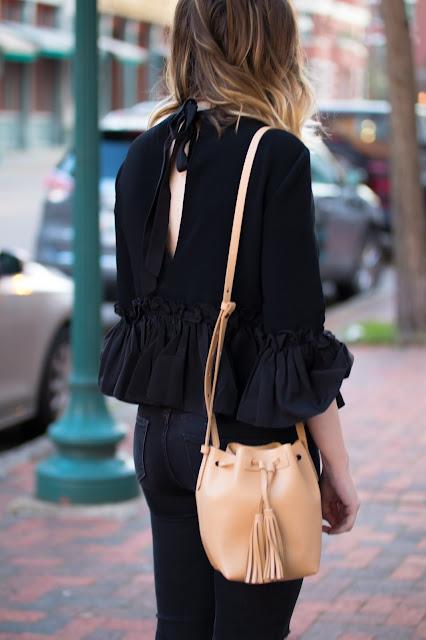 cinq-a-sept-black-ruffle-blouse
