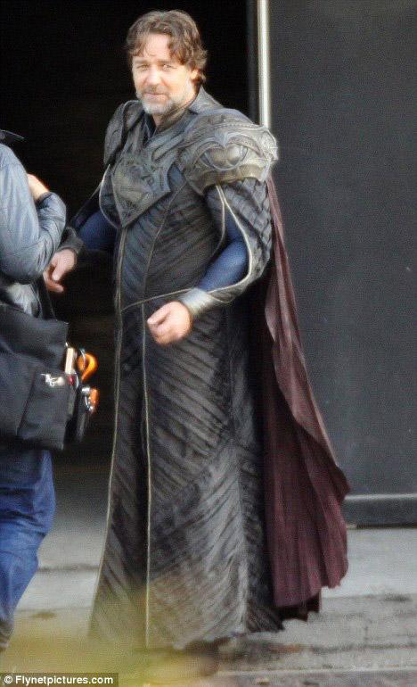 Russell Crowe en el rodaje de Man of Steel