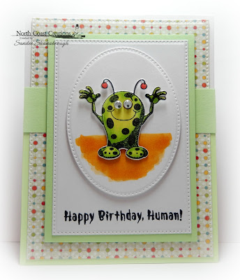 North Coast Creations Stamp Set: Little Monsters, North Coast Creations Custom Dies: Monster, Our Daily Bread Designs Custom Dies: Pierced Ovals, Pierced Rectangles, Our Daily Bread Designs Paper Collection: Birthday Bash