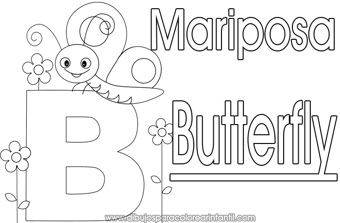 Lujoso Letra B Mariposa Para Colorear