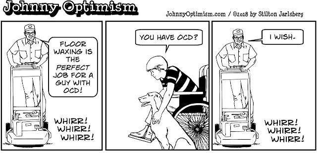 johnny optimism, medical, humor, sick, jokes, boy, wheelchair, doctors, hospital, stilton jarlsberg, ocd, floor waxer
