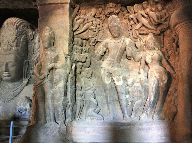 Gangadhara statue in the Elephanta caves- UNESCO World  Heritage site in India