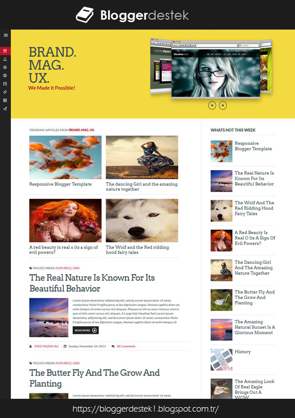 Brand Mag UX Mobile Compatible Blogger Free Template
