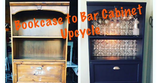 Thrift Store Finds: Bookcase to Bar Cabinet Upcycle