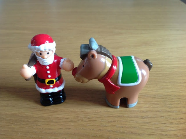 Father Christmas and Rudolf figurines