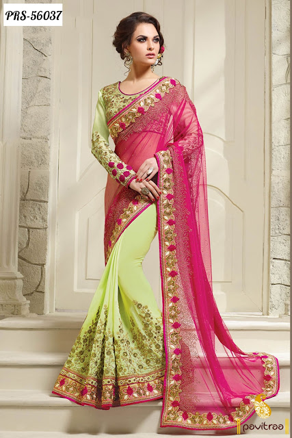 Latest Party Wear Sarees Fashion Trends with Heavy Embroidery Work