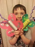 Boy Holding Butterfly Toilet Roll Creations