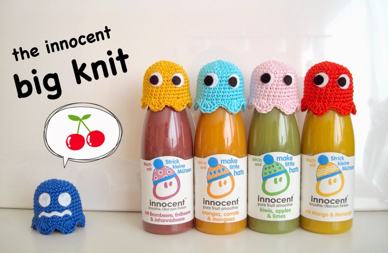 87eb39174 Free pattern  the innocent big knit Pacman ghost hats