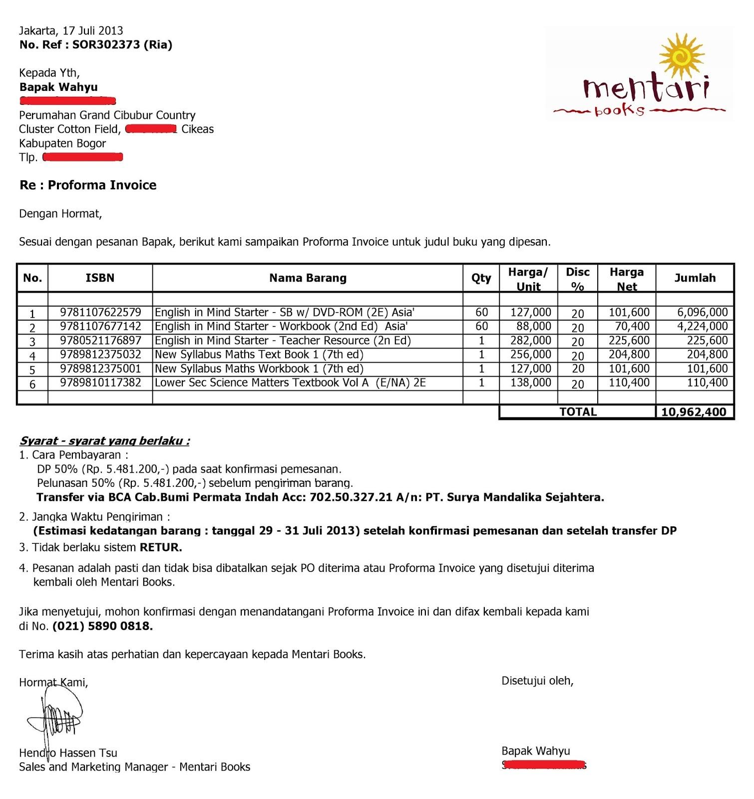 Contoh Invoice Dari Mentari Books (Pemesanan Buku)  Contoh Proforma Invoice
