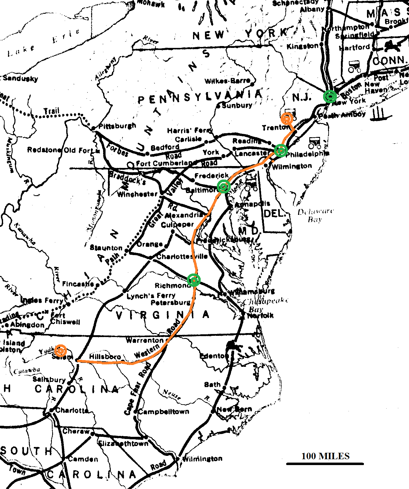 main us roads in 1790 the orange circles show the locations of bv the orange line shows the approximate route bv took to north carolina