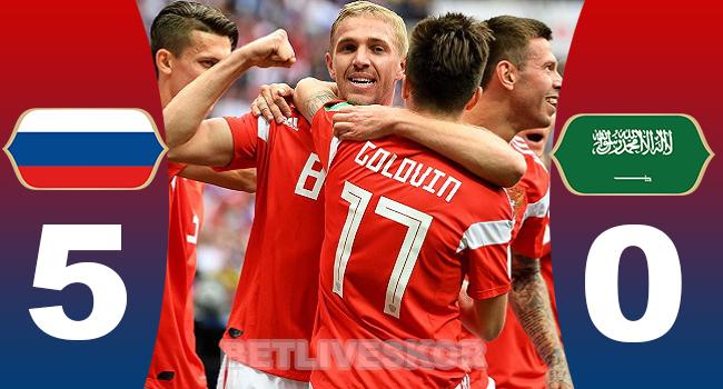 cuplikan gol piala dunia russia vs arab saudi 5-0