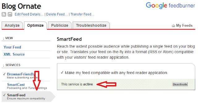 Configure SmartFeed Section of Feedburner