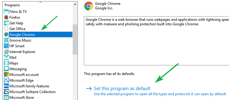 make chrome your default browser in windows 7