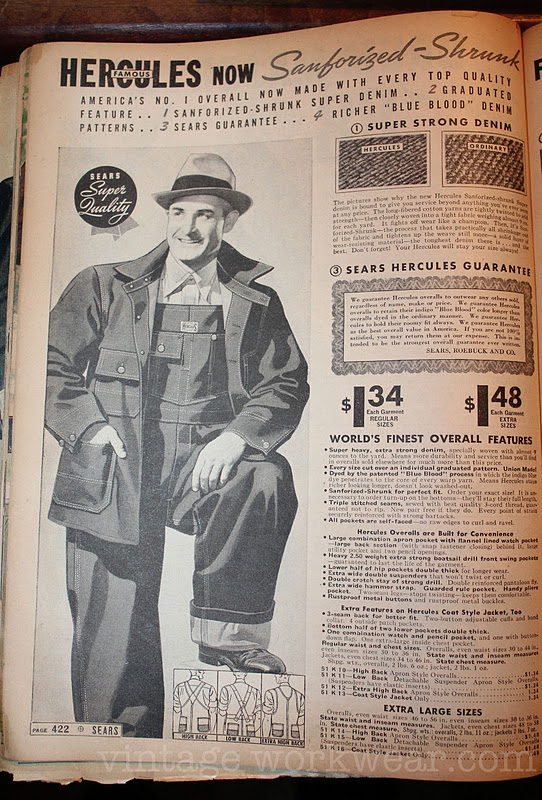 Vintage Workwear 1930 S 1940 S Sears Hercules Overalls