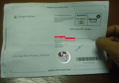 Tampilan surat PIN Google Adsense bagian depan.