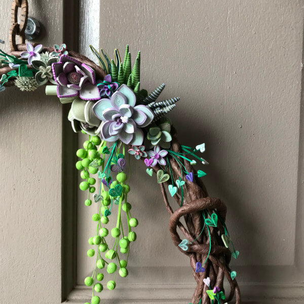 quilled succulent wreath with hanging chain
