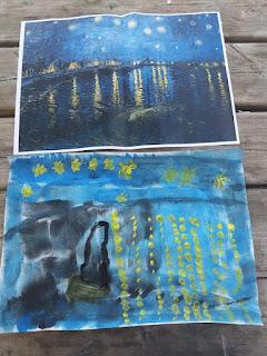 vincent van gogh nuit étoilée  peindre à la manière de  unschooling art study