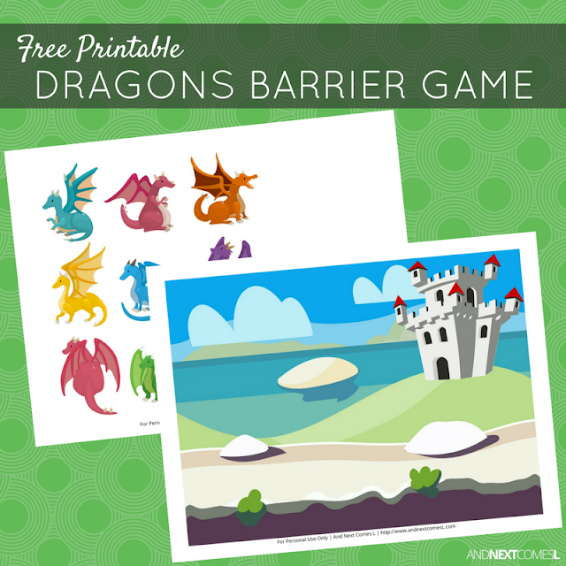 Free printable dragon themed barrier game for speech therapy from And Next Comes L