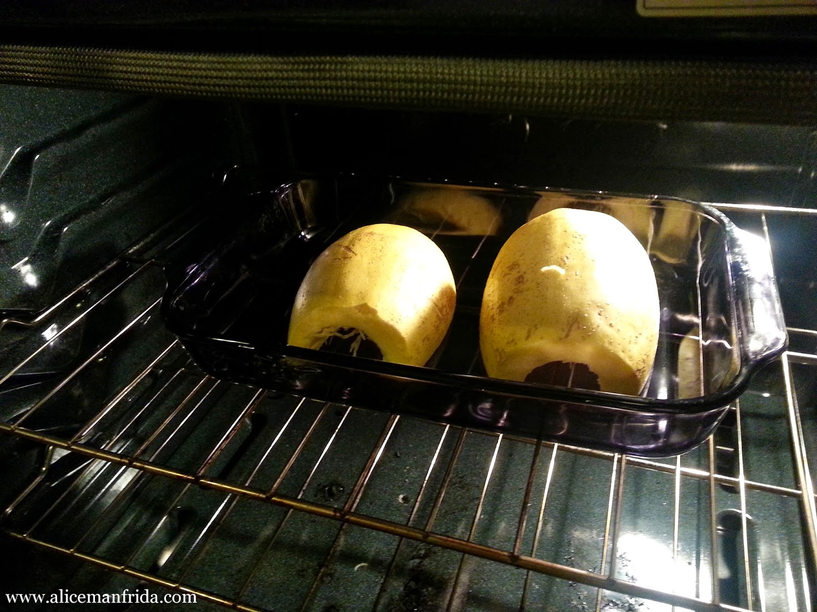 Bake spaghetti squash cut side down in a oven safe dish.
